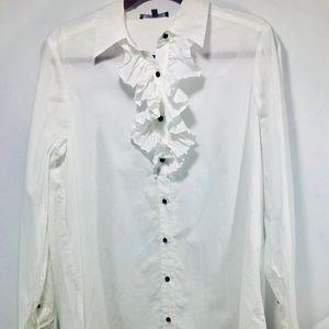 Annie Klein front ruffled button down white blouse